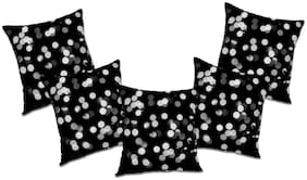 RADANYA Polka dot Polyester Black Cushion Cover ( Extra large , Pack of 5 )