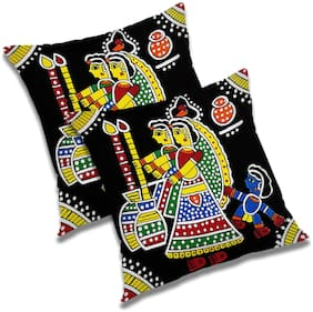 RADANYA Printed Polyester Black Cushion Cover ( Large , Pack of 2 )