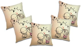 RADANYA Printed Polyester Beige Cushion Cover ( Large , Pack of 5 )