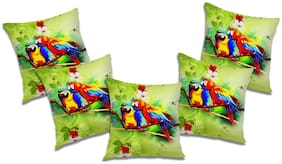RADANYA Printed Polyester Green Cushion Cover ( Extra large , Pack of 5 )