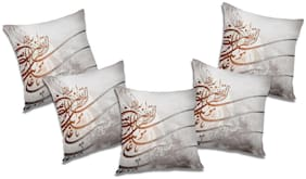 RADANYA Printed Polyester Grey Cushion Cover ( Extra large , Pack of 5 )