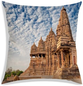 RADANYA Printed Polyester Brown Cushion Cover ( Regular , Pack of 1 )