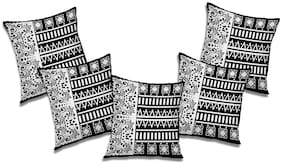 RADANYA Printed Polyester Black Cushion Cover ( Large , Pack of 5 )