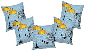 RADANYA Printed Polyester Blue Cushion Cover ( Large , Pack of 5 )
