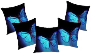 RADANYA Printed Polyester Blue Cushion Cover ( Extra large , Pack of 5 )