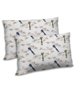 RADANYA Polyester Printed Pillow Covers ( Set of 2 , White )