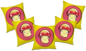 RADANYA Printed Polyester Yellow Cushion Cover ( Large , Pack of 5 )