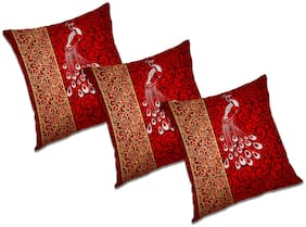 RADANYA Printed Polyester Maroon Cushion Cover ( Extra large , Pack of 3 )