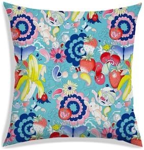 RADANYA Printed Polyester Blue Cushion Cover ( Extra large , Pack of 1 )