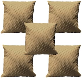 RADANYA Plain Cotton Beige Cushion Cover ( Regular , Pack of 5 )