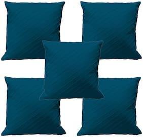RADANYA Plain Cotton Blue Cushion Cover ( Regular , Pack of 5 )