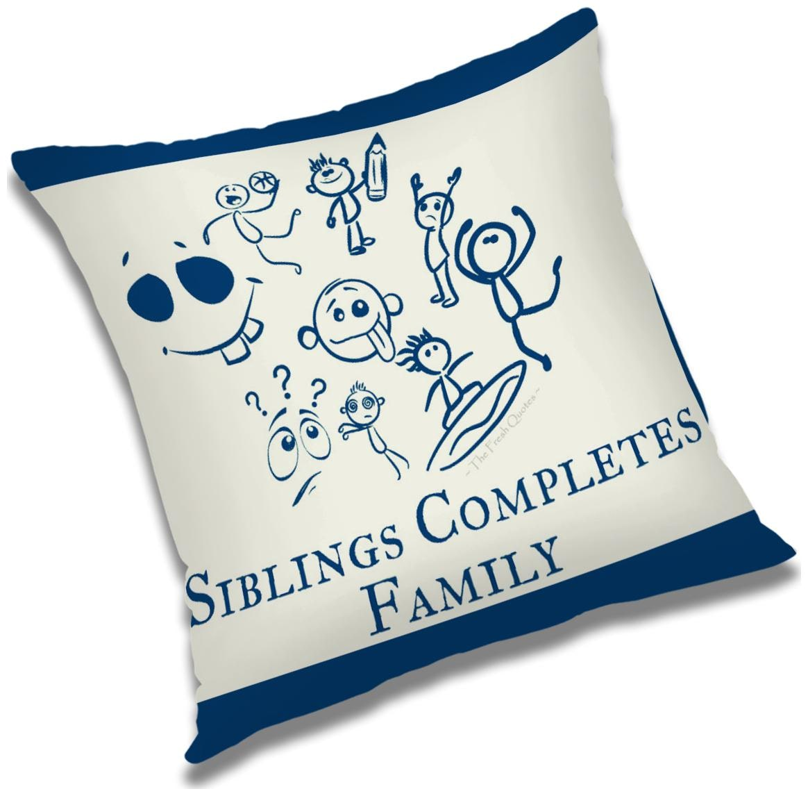 RADANYA Sibling Completes Family Printed Cushion Cover Multicolor,16x16 inch