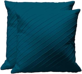RADANYA Solid Cotton Blue Cushion Cover ( Regular , Pack of 2 )