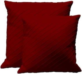 RADANYA Solid Cotton Maroon Cushion Cover ( Regular , Pack of 2 )