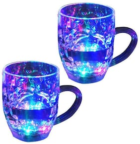 Rainbow Color Cup Led Flashing 7 Colour Changing Liquid Activated Mug (Pack of 2) Assorted Color