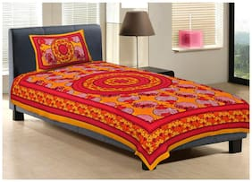 Rajasthani Craft Jaipuri Special Printed 100% Pure Cotton Single Bedsheet with 1 Pillow Cover