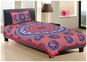 Bhaskar Inc Cotton Printed Single Size Bedsheet 104 TC ( 1 Bedsheet With 1 Pillow Covers , Multi )