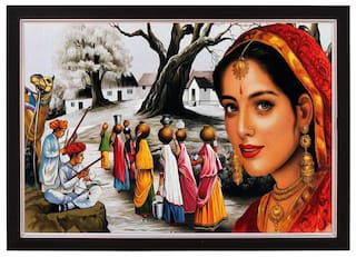 Rajasthani Village Textured With Acrylic Glass Ink Painting
