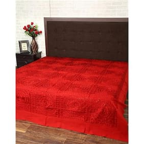 Rajrang Cotton Printed Double Size Bedsheet 104 TC ( 1 Bedsheet With 2 Pillow Covers , Red )