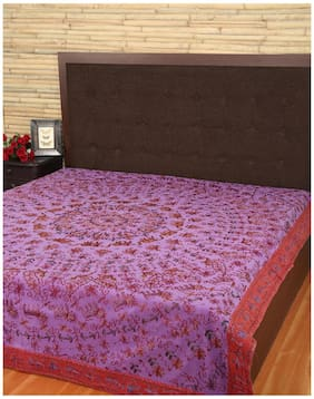 Rajrang Purple Color Double Bedsheets Online, Rajasthani Bedsheets, Cotton Printed Bedsheets