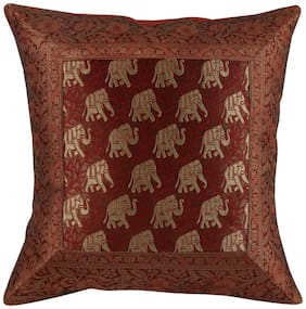 Decorative Elephant 40 X 40 Traditional Sofa Cushions & Pillows Polydupion Maroon & Golden 16 X 16 Wedding Anniversary Single Patch Work Cushion Covers By Rajrang