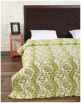 Rajrang Green Color Cotton Ac Quilts & Blankets For Double Bed Jaipuri Rajai