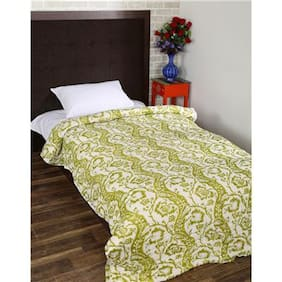 Rajrang Green Color Cotton Ac Quilts & Blankets For Single Bed Jaipuri Rajai