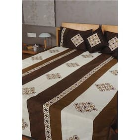 Rajrang Cream Color Double Bedsheets Online, Rajasthani Bedsheets, Polydupion Printed Bedsheets