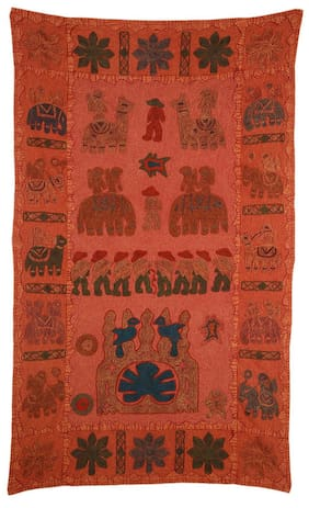 Rajrang Trippy Tapestry Antique Wall Hanging Home D cor Rajasthani Decorative Tapestry Embroidery On Cotton Tapestry Rods