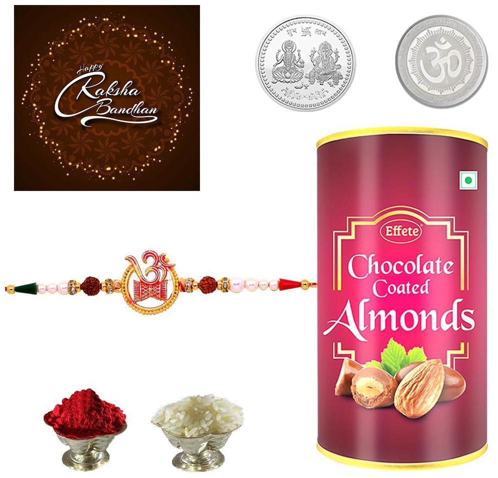 Rakshbandhan Combo-Designer Silver Color / Plated Rakhi (Q1_KUM580_EA96) KUM580 Rakhi with Chocolate...