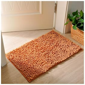 Ramcha Luxury Anti Slip Chenille Bathroom Rug Mat, Extra Soft and Absorbent Shaggy Rugs, 40cm x 60cm - Pack of 1 (Rust)