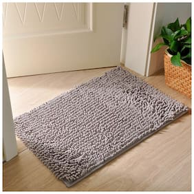 Ramcha Luxury Anti Slip Chenille Bathroom Rug Mat, Extra Soft and Absorbent Shaggy Rugs, 40cm x 60cm - Pack of 1 (Grey)