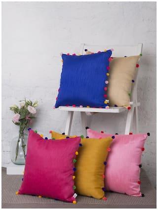 Rangdesi Raw Silk Cushion cover with Pom Pom Balls-Combo-Set of 5