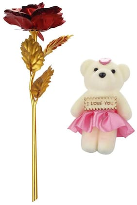 Rangoli Teddy Showpiece With Red Rose For Love Special
