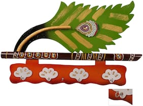 RATASH Lord Krishna's Flute and Peacock Quills Key Stand Holder for Home and Office