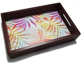 Ravenn Wooden Serving/Decorative Small Tray with Digital Print - Gift for Housewarming/Cafe/Coffee Shops/Restaurants (8 x 12 inch) - Diwali Gift