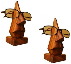 RAVIVA Brown Wooden Handmade Nose Shaped Spectacles Holder Stand - Pack Of 2