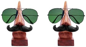 RAVIVA Wooden Display Stand Handmade Nose Shaped Spectacles Holder With Moutache - Pack Of 2