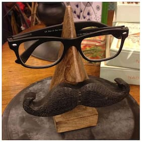 RAVIVA Wooden Handmade Nose Shaped Spectacles Holder Stand With Moutache