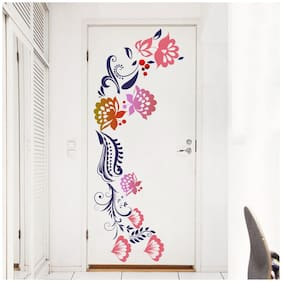 Rawpockets Wall Decals ' Floral -Door Decal ' Wall Stickers (Multicolour)
