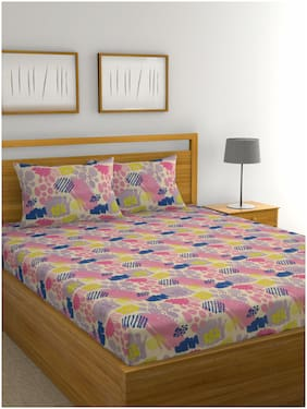 Raymond Home Cotton Abstract Double Bedsheet ( 1 Bedsheet with 2 Pillow Covers , Multi )