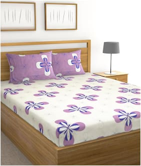 Raymond Home Microfibre Floral Double Size Bedsheet 120 TC ( 1 Bedsheet With 2 Pillow Covers , White )