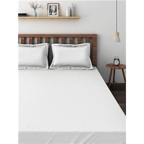 Raymond White Cotton Double Bedsheet With 2 Pillow Covers