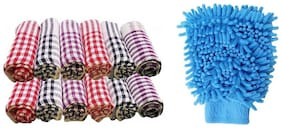 RDY kitchen napkin cloth (PACK OF 12) and 1 pc of microfiber hand gloves for cleaninig dusting for home,kitchen (multi color)