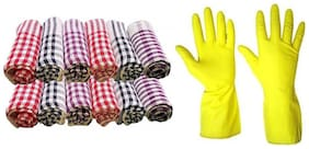 RDY kitchen napkin cloth (PACK OF 12) and 1 PAIR of hand gloves for cleaninig dish washing  for kitchen (multi color)