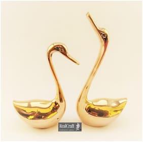 RealCraft Metal Pair of Decorative Golden Swan Duck Birds Showpiece Item for Home/Bedroom