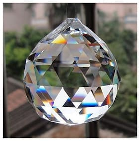 REBUY Crystal Fengshui Clear Crystal Hanging Ball Sun Catcher for Positive Energy and and Good Luck Prosperity 40 mm