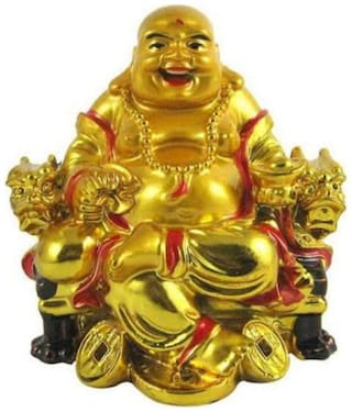 Rebuy Laughing Buddha On Chair With Ingot And Money Coin For Health;Wealth And Happiness