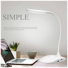 Rechargeable LED Touch On/Off Switch Desk Lamp Children Eye Protection Student Study Reading Dimmer Table Lamp (21;White)