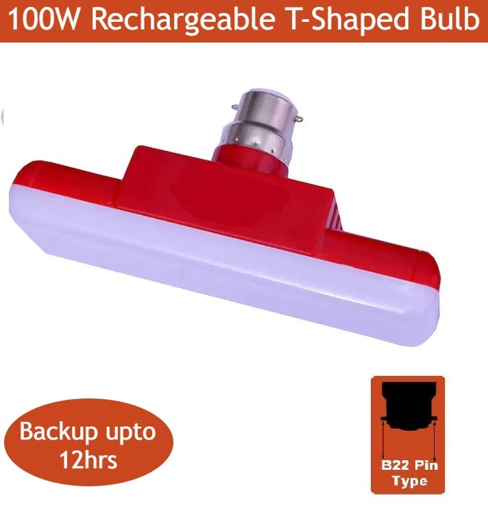 S4 100Watt Rechargeable AC/DC Emergency Led Light with Portable Metal Hook B22 Pin Type( T-Shaped)